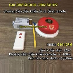 Chuông điện điều khiển từ xa bằng remote C15-10RM, độ vang < 1000m2